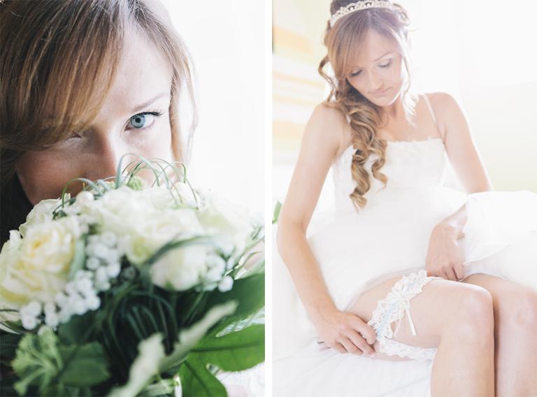 Bilder von der Braut mit Ihrem Brautstrauß und beim Anlegen Ihres Strumpfbandes