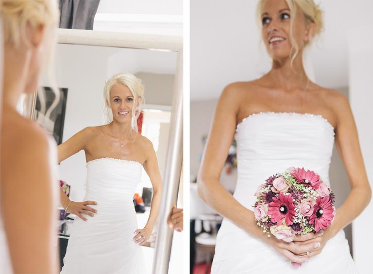 Bilder zeigen die Braut mit Ihrem Brautstrauß vor dem Spiegel
