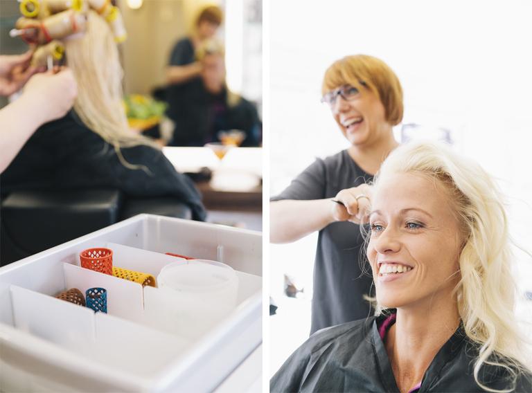 Bilder von der braut bei Ihrer Brautwerdung beim Friseur in Gronau