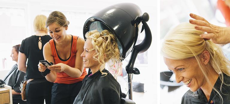 Bilder von der Braut beim Friseur
