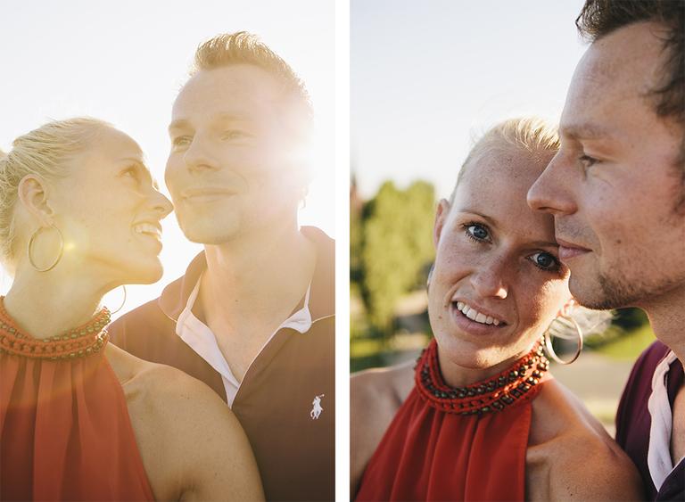 Bilder zeigen ein vertrautes Paar beim Paarshooting im Gegenlich