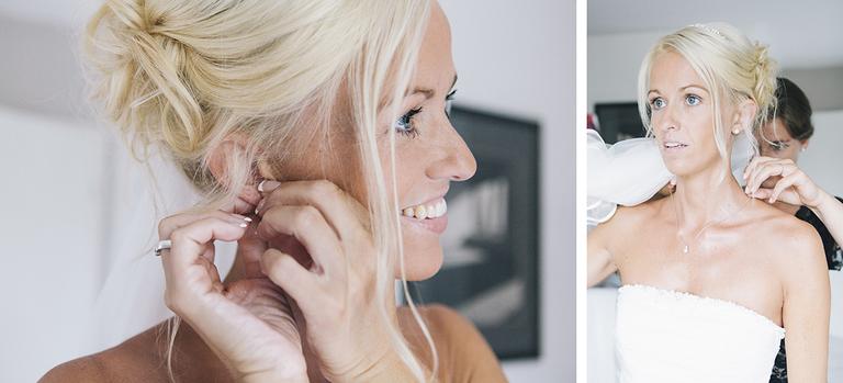 Bild zeigt die Braut während sie Ihren Schmuck anlegt