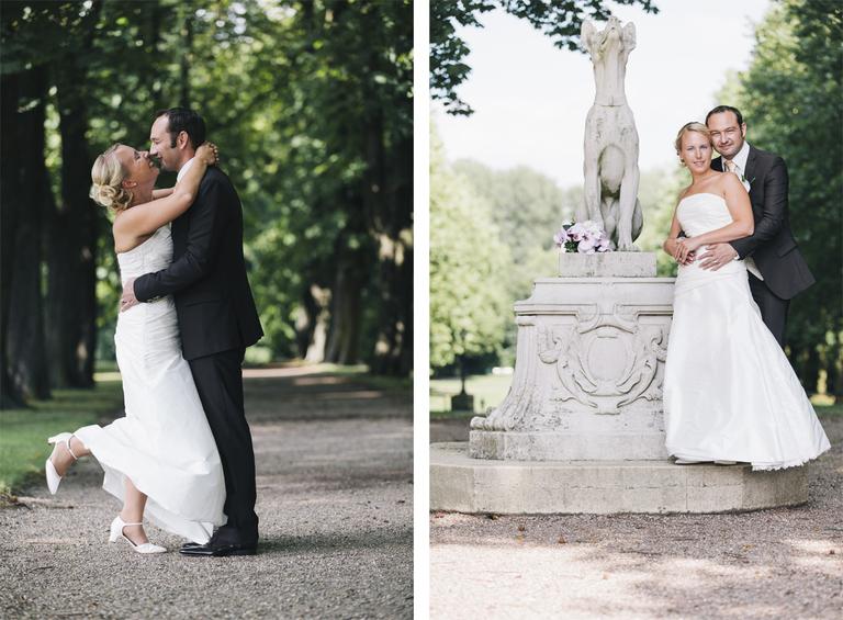 Brautpaar während des Brautpaarshootings im Schloßpark Nordkirchen