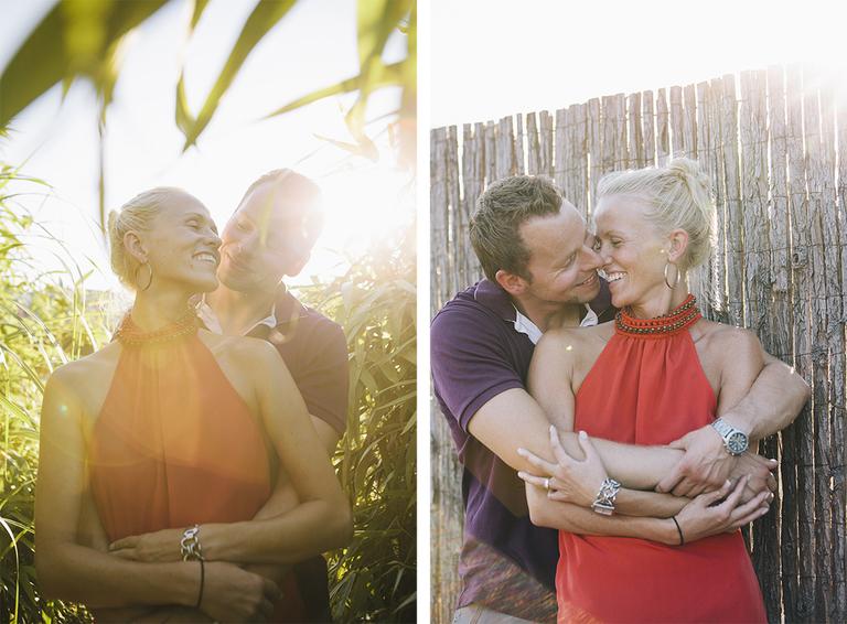 Bilder zeigen ein Paar welches im Schilf steht und sich innig umarmt