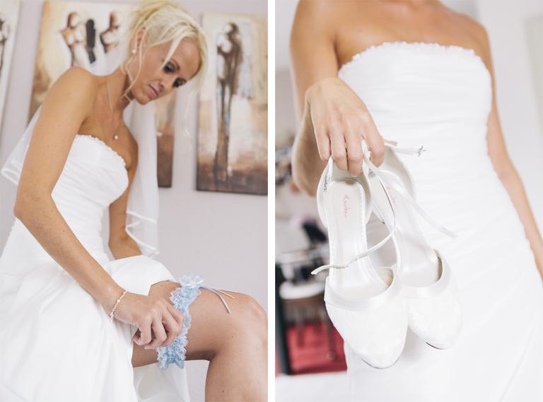 Bilder zeigen die Braut beim Anlegen eines Strumpfbandes und mit Ihren Brautschuhen