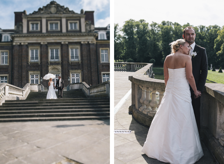 Brautpaar vor dem Schloß Nordkirchen mit einem Brautschirm
