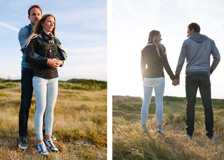 Zwei Bilder vom Paarshooting mit Alexandra und Pascal auf Langeoog in den Dünen