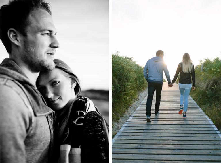 Bilder welche Alexandra und Pascal zeigen. Auf einem kuschelt sich Alexandra an Ihren Pascal, auf dem anderen Bild gehen die beiden den Weg zum Strand und werden von hinten fotografiert