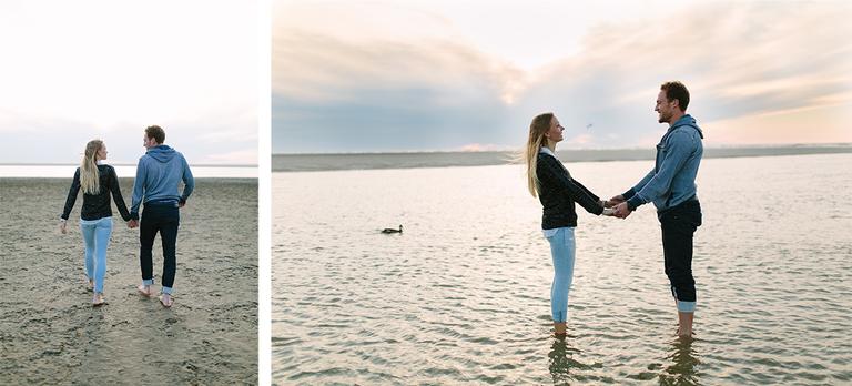 Zwei Bilder welche Alexandra und Pascal am Strand von Langeoog im Wasser zeigen.
