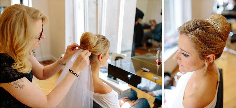 Braut wird beim Friseur in Osnabrück gestyllt
