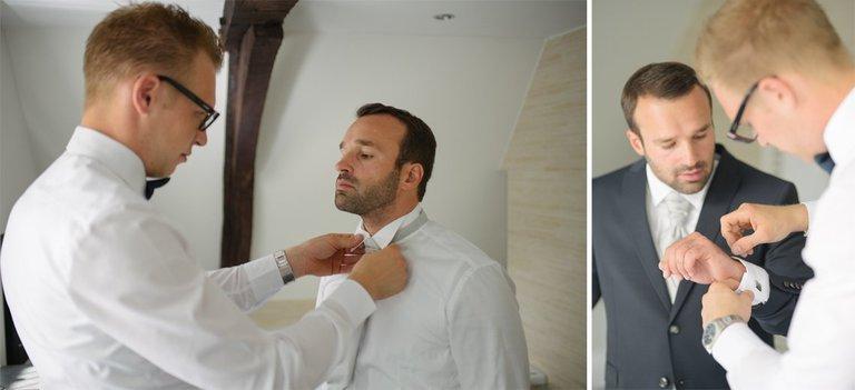 Bräutigam wird angezogen