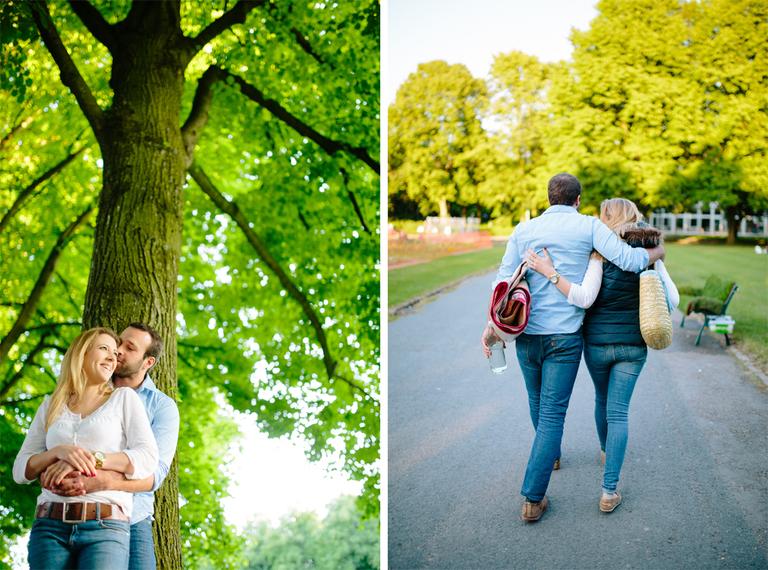 Paar geht beim Paarshooting verliebt durch den Schlosspark in Osnabrück