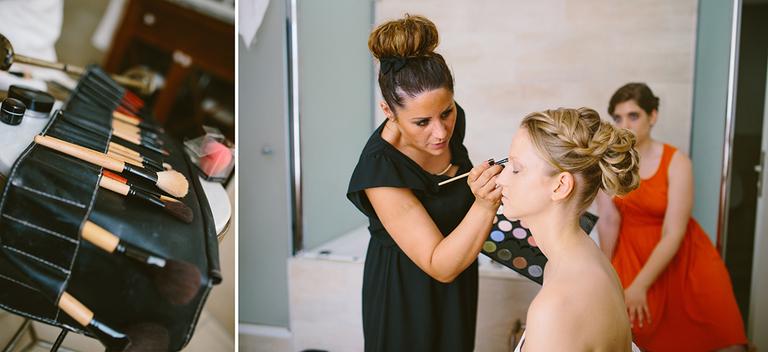 Braut wird von einer Stylistin geschminkt