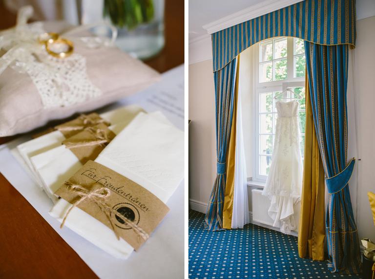 Bild vom Brautkleid vor dem Fenster, sowie Ringkissen und Taschentücher