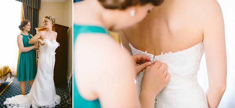 Bild vom Anziehen des Brautkleids