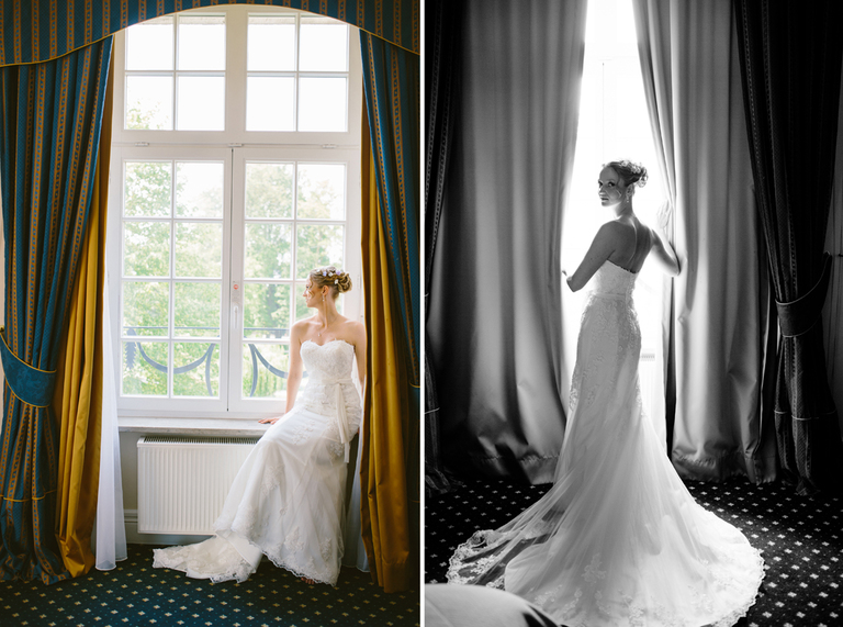 Braut öffnet den Vorhand und schaut aus dem Fenster