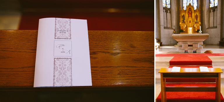 Kirchenprogramm für Trauung und leere Sitzbänke