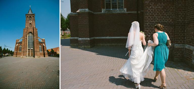 Braut wird zur Kirche begleitet