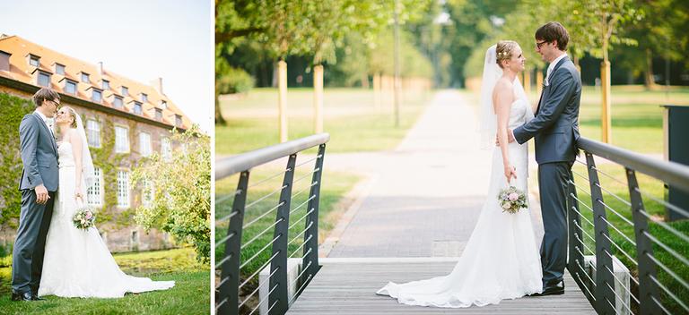 Brautpaar auf einer Brücke