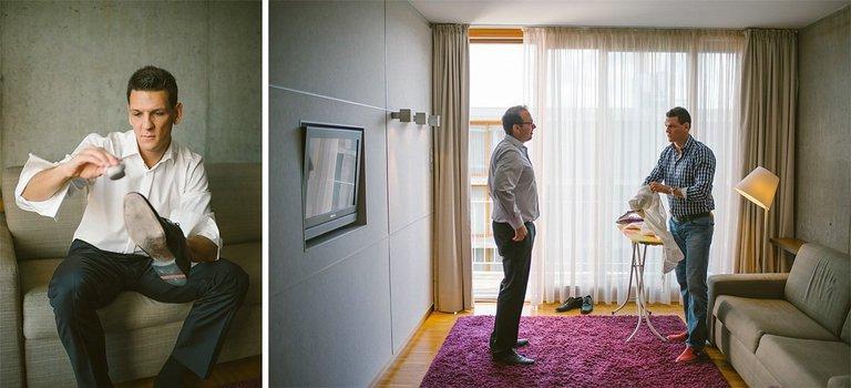 Bräutigam putzt schuhe und bügelt im Factory Hotel