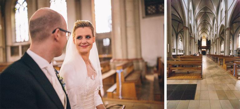 Brautpaar in der Kirche in Velen Hochzeit Velen Hochzeitsfotograf Velen Sportschloss Velen NRW Hochzeitsreportage Velen Sportschloss Velen NRW - Hochzeit Velen Hochzeitsfotograf Velen NRW Hochzeitsreportage Velen Sportschloss Velen NRW