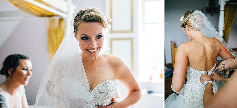 Brautkleid wird angezogen