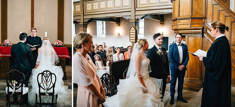 Braut und Bräutigam während der Trauung