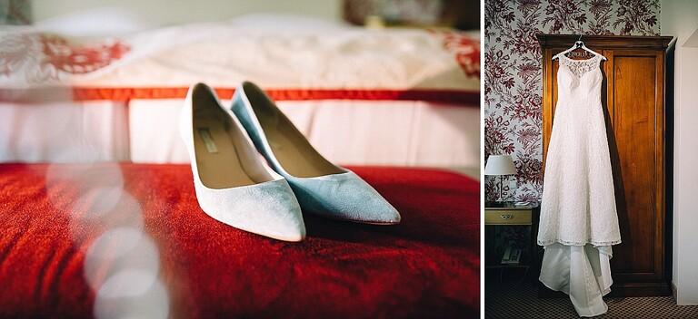 Brautkleid und Schuhe