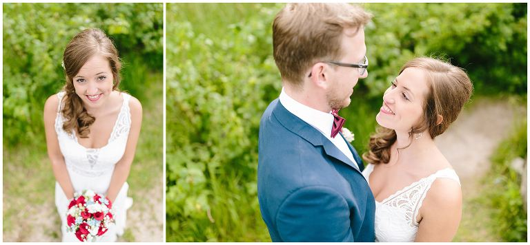 Braut mit Brautstrauß und Brautpaar schaut sich verliebt an - Hochzeitsfotograf Lotharinger Kloster