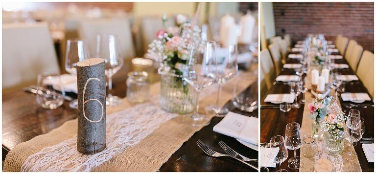 Tischdeko einer Hochzeit im Beverland Resort