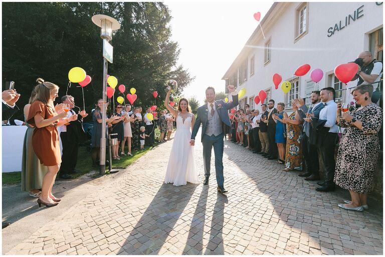Ankunft des Brautpaares im Restaurant Gottesgabe in Rheine