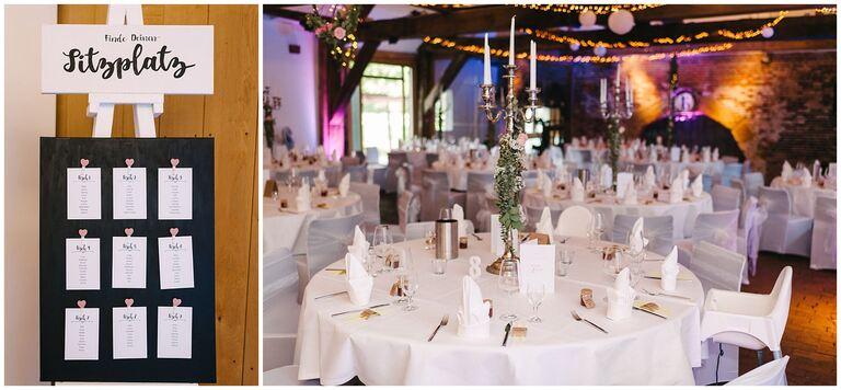 Eingedeckter Gesellschaftsraum für die Hochzeitsfeier im Restaurant Gottesgabe in Rheine